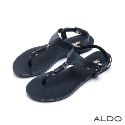 ALDO-原色真皮窄版金屬皮帶夾腳涼鞋-尊爵黑色