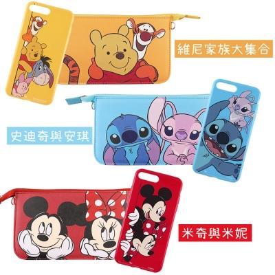 Disney迪士尼iPhone7Plus彩繪軟套+手機袋禮盒-好朋友系列