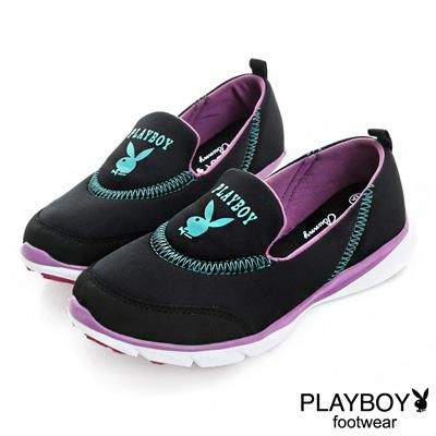 PLAYBOY 動感樣貌 簡約舒適輕量慢跑運動鞋-黑(女)