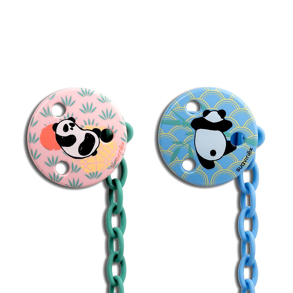 奇哥 suavinex 圓形奶嘴掛鍊-熊貓系列 (2色選擇)