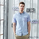 Nautica細線條拼接短袖襯衫-藍色