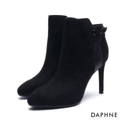 達芙妮DAPHNE 短靴-拼接金屬爆裂紋絨布細高跟踝靴-黑