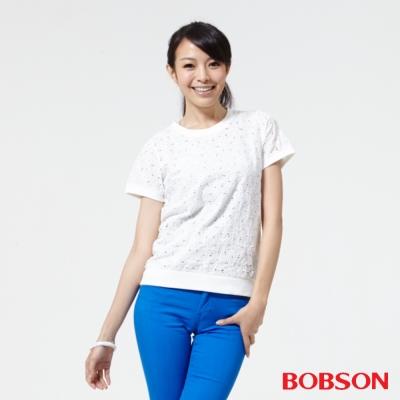 BOBSON  女款搭配蕾絲布上衣 -白色