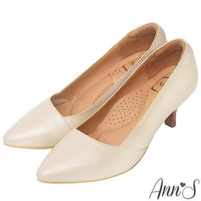 Ann'S氣質精品MIT氣墊頂級羊皮尖頭跟鞋-杏