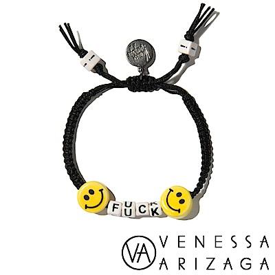 Venessa Arizaga FUCK 笑臉黑色手鍊