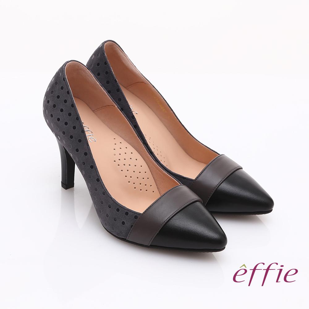 effie 摩登甜美 真皮絨面圓點高跟鞋 灰