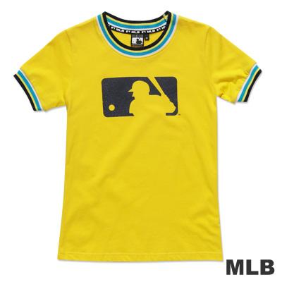 MLB-美國職棒大聯盟LOGO印花撞色造型T恤-黃(女)