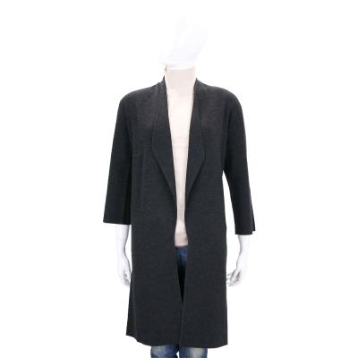 ALLUDE 深灰色開襟長版七分袖針織外套(100%WOOL)