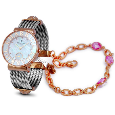 CHARRIOL NEW夏利豪玫瑰金可拆式寶石鎖鍊錶-30mm