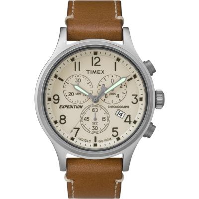 TIMEX 天美時 Scout Chrono 三眼計時手錶-米色x咖啡/ 41 mm