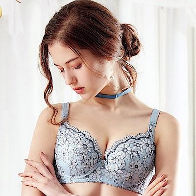 EASY SHOP-花開雍貴 A-D罩成套內衣(清新藍)