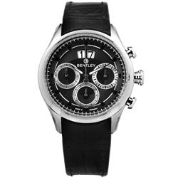 BENTLEY 賓利 三眼計時 日期 日本機芯 德國製造 真皮手錶-黑色/42mm