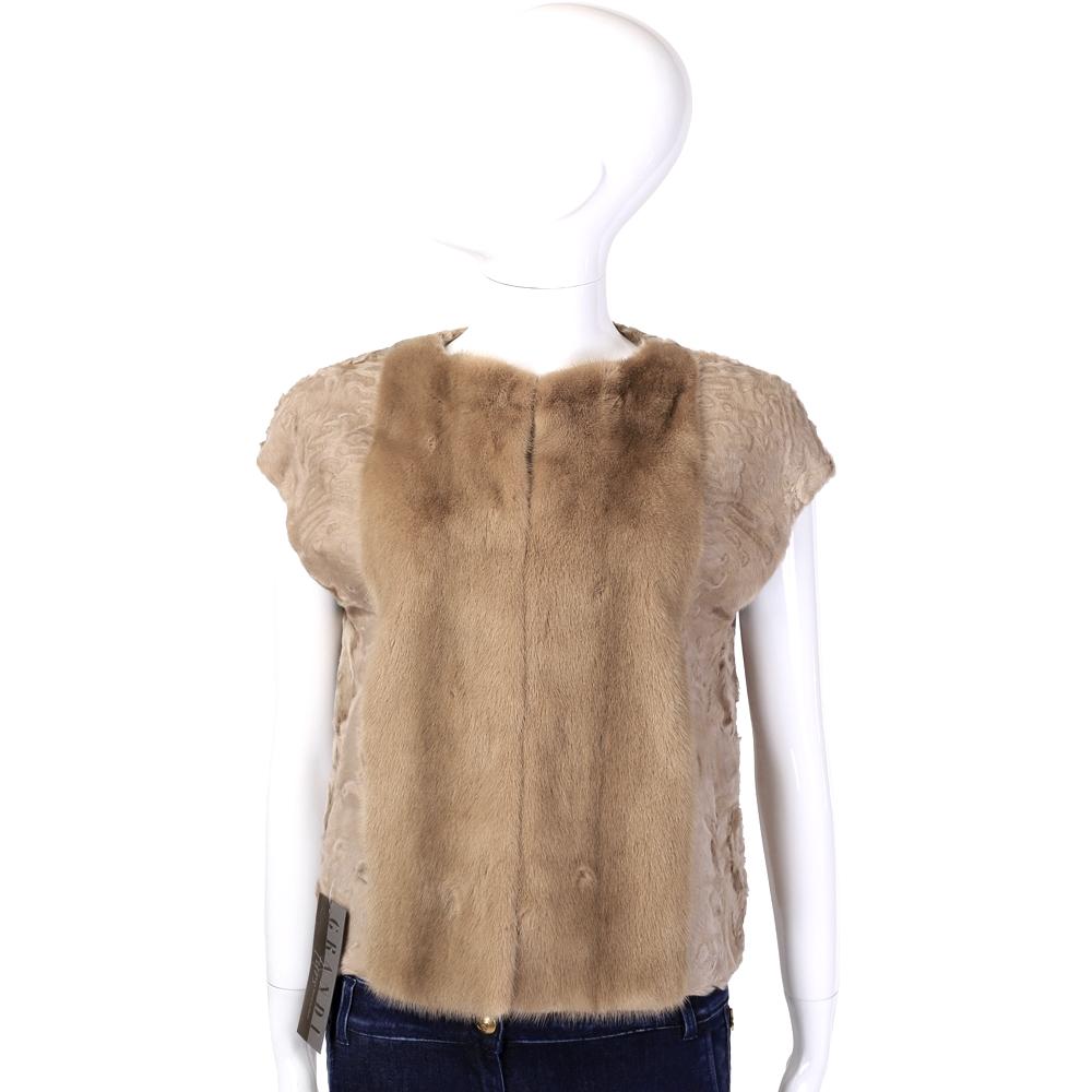 GRANDI furs 駝色短袖皮草外套