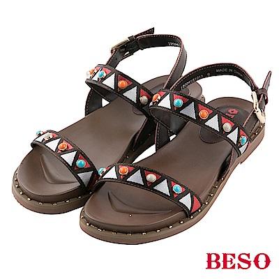 BESO 異國風情 波西米亞風寶石一字涼鞋~咖啡