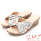 G.Ms. MIT系列-扭結印花羊皮坡底涼拖鞋-銀白