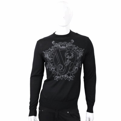 VERSACE 經典品牌圖騰黑色針織羊毛衫