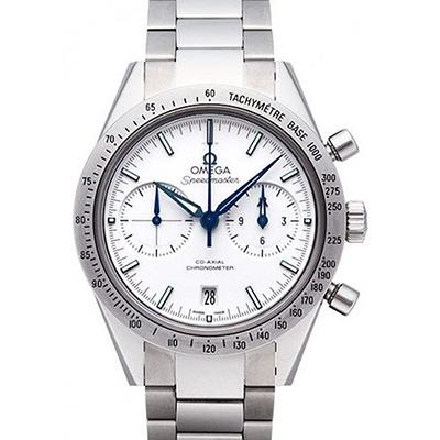 OMEGA 歐米茄 超霸系列 雙眼計時藍鋼針鈦金屬鍊帶腕錶-41.5mm