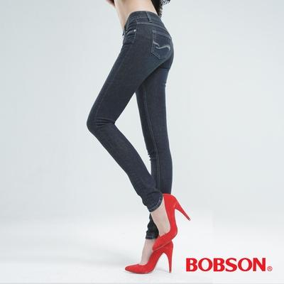 BOBSON 強彈力小直筒褲-深藍 8117-52