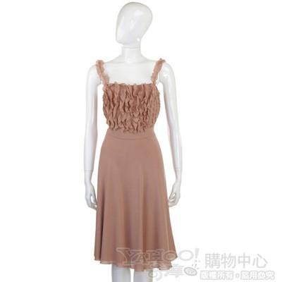 MOSCHINO 粉橘色荷葉造型洋裝