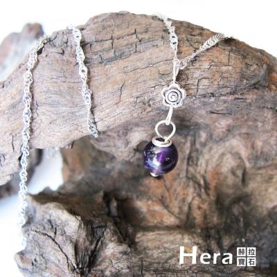 Hera 925純銀手作天然紫水晶花朵項鍊/鎖骨鍊