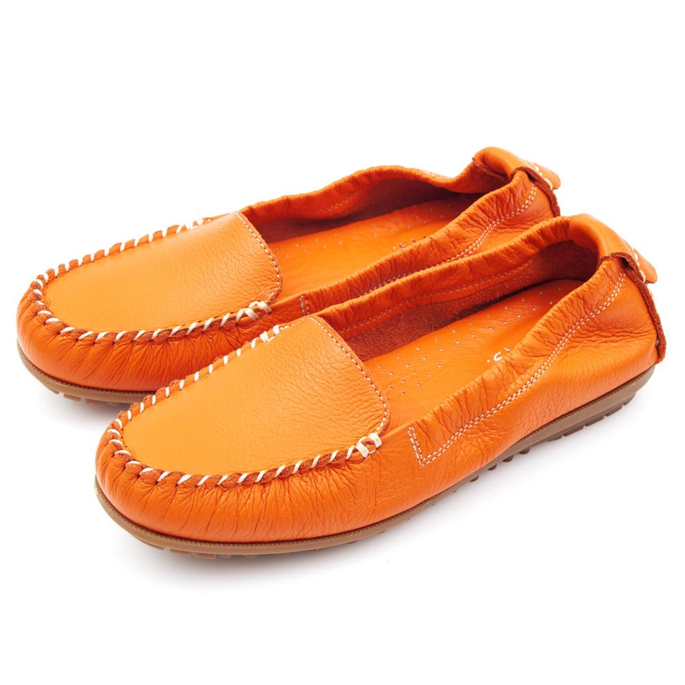 G.Ms.MIT系列-極好穿超軟Q全牛皮莫卡辛鞋-時尚橘