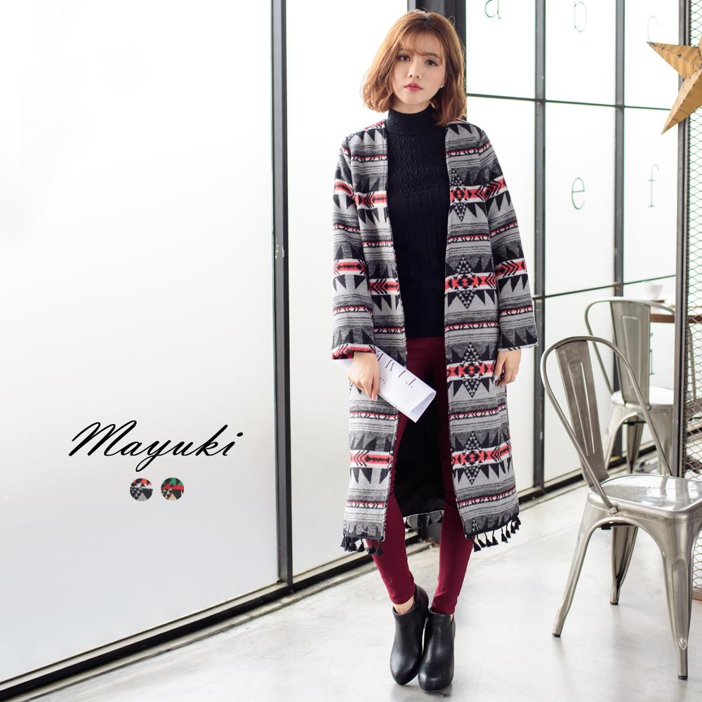 東京著衣自訂款流蘇滾邊印花開襟外套-S.M共二色