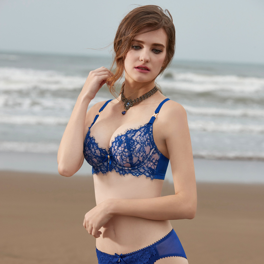 曼黛瑪璉-Marie One 性感薄襯內衣 C-F罩杯(雅致藍)