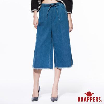 BRAPPERS-女款-Boy-Friend系列-女用鬆緊帶大直統八分褲-藍