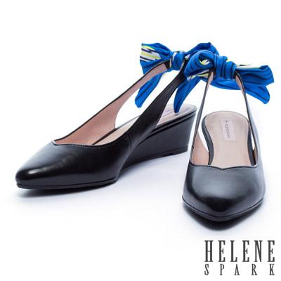楔型鞋-HELENE-SPARK-蝴蝶結綁帶羊皮楔型高跟鞋-黑