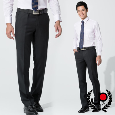 【極品西服】-修身直條紋仿毛平面西褲_黑底藍條(BS533-1)