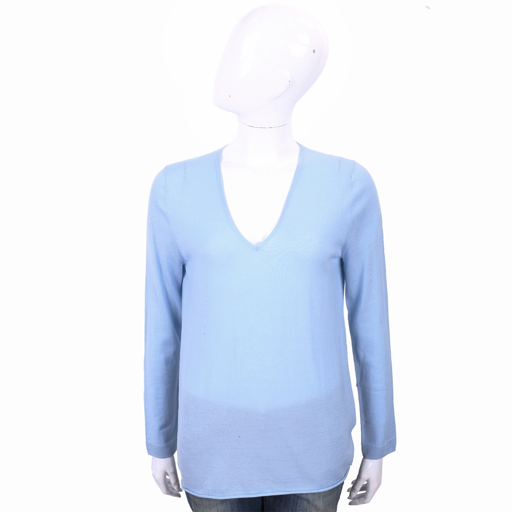 ALLUDE 100%羊毛水藍色V領針織羊毛衫