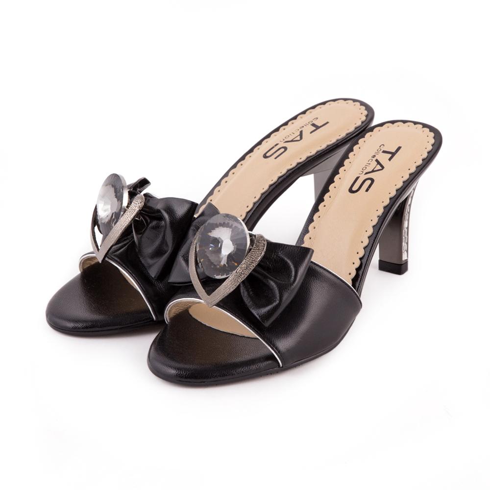 TAS 心形造型鑲飾華麗寶石高跟涼拖鞋-時尚黑