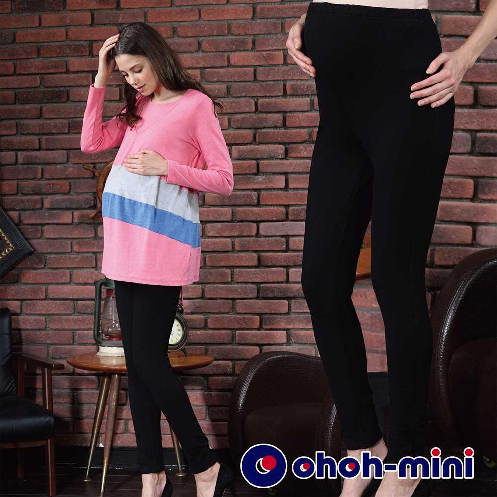 【ohoh-mini 孕婦裝】彈力針織內刷毛孕婦內搭褲(黑)