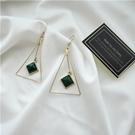 梨花HaNA 無耳洞韓國極簡氣質綠松石三角耳環夾式