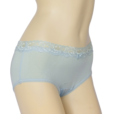 三角內褲 100%蠶絲法式蕾絲中腰內褲M-XL(水藍) Seraphic