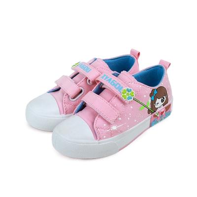 甜美女孩款四季兒童時尚帆布板鞋(粉)