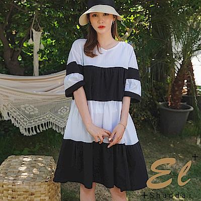 正韓 條紋露背澎袖寬鬆洋裝-(共二色)El Shuddai