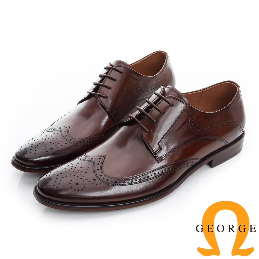 GEORGE 喬治-雕花手工真皮底牛津紳士鞋-咖啡色