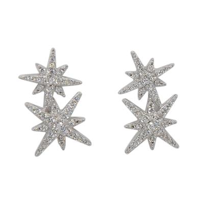 apm MONACO法國精品珠寶 閃耀銀色雙繁星鑲鋯耳針式耳環