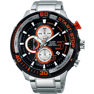 ALBA SignA 疾速奔馳計時限量腕錶-黑x銀/50mm