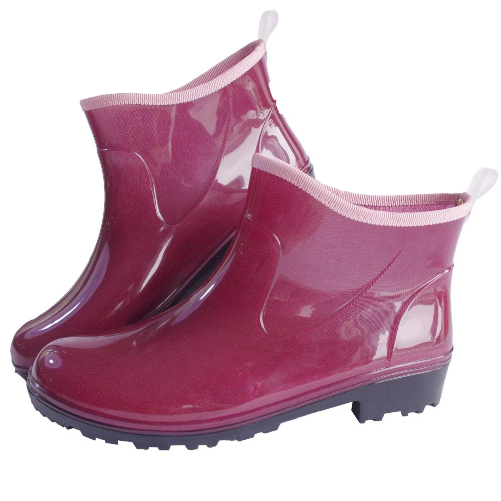 一體成型減壓短筒雨鞋(酒紅)