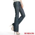 BOBSON 女款植絨保暖中藍色小喇叭褲