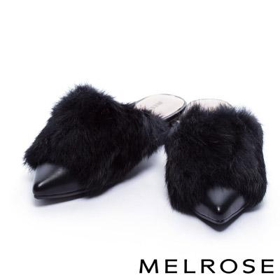 拖鞋 MELROSE 雍容兔毛造型奢華點綴粗跟拖鞋-黑