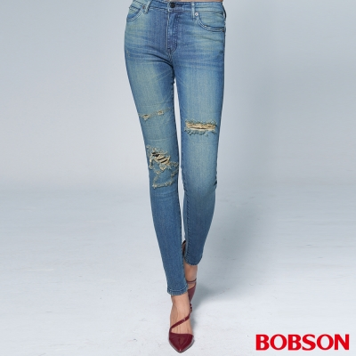 "BOBSON 女款1971""日本進口黑標""刷破中藍小直筒褲"