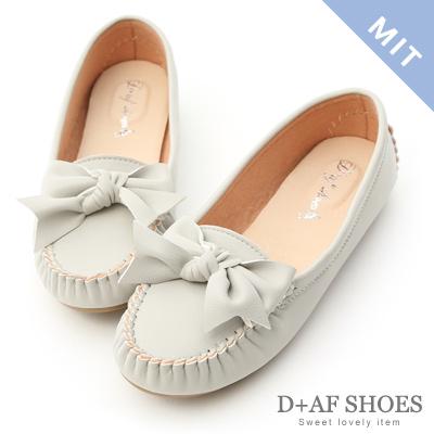 D+AF 可愛印象.MIT立體蝴蝶莫卡辛豆豆鞋*灰