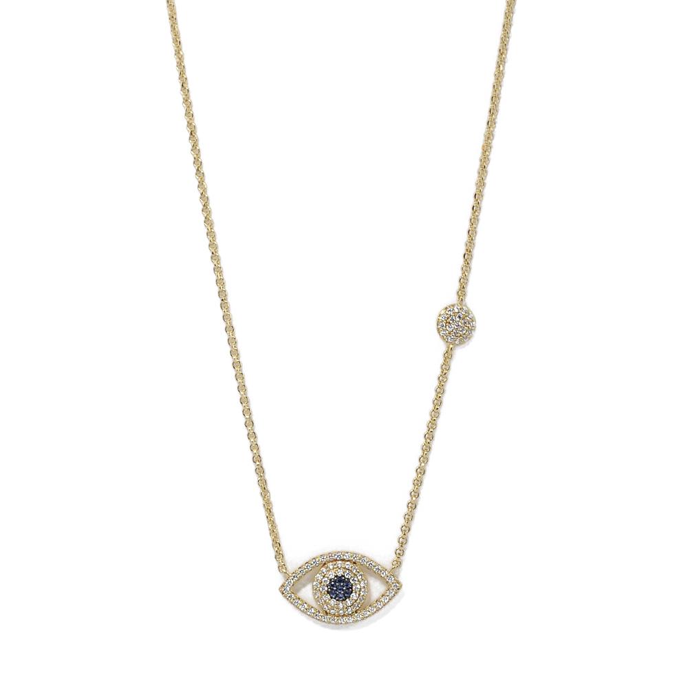 apm MONACO法國精品珠寶 閃耀金色璀璨之眼鑲鋯可調整長項鍊