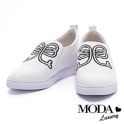 休閒鞋 MODA Luxury 珍珠水鑽蝴蝶結全真皮內增高休閒鞋-白