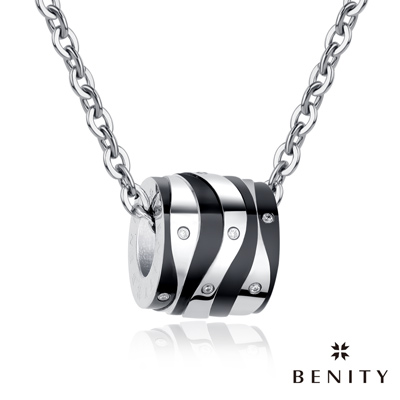 BENITY 午夜巴黎 IP黑鈦 斑馬紋 316白鋼/西德鋼 情侶對鍊款 男項鍊