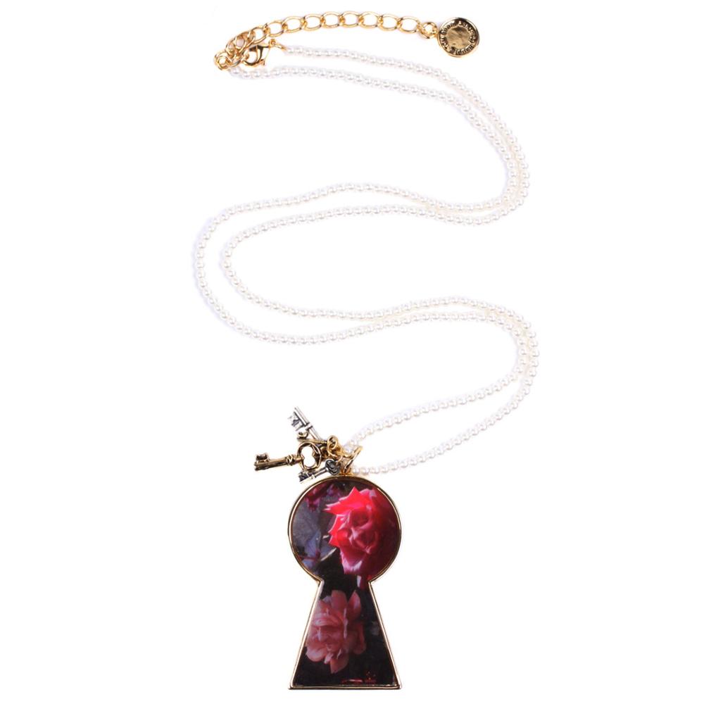 迪士尼 DISNEY COUTURE 魔鏡夢遊 玫瑰花鑰匙孔造型 小鑰匙多墜 珍珠長項鍊