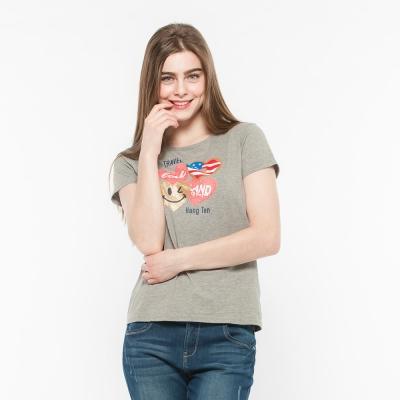 Hang Ten - 女裝 - 有機棉 趣遊美國愛心印圖T-Shirt -灰